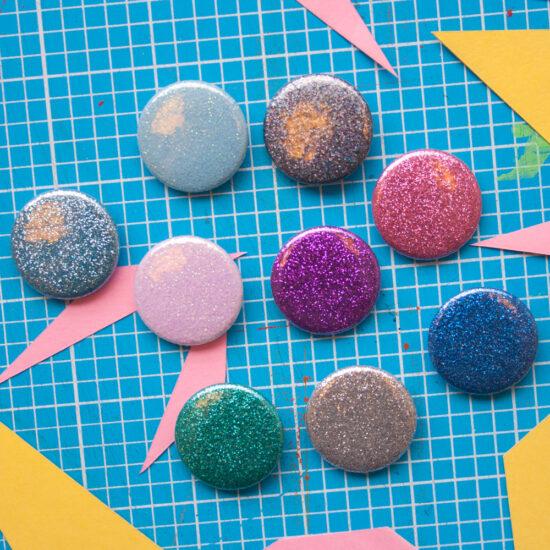 glitter badges