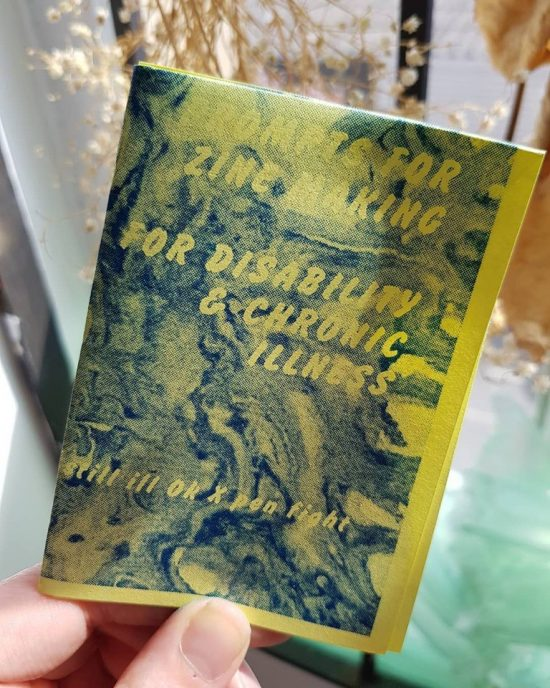 "a yellow zine with blue ink that reads ""prompts for zine making, for disability and chronic illness"""